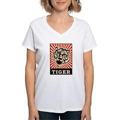 Pop Art Tiger Women's V-Neck T-Shirt