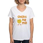 Chicks Dig Me Women's V-Neck T-Shirt