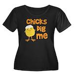 Chicks Dig Me Women's Plus Size Scoop Neck Dark T-