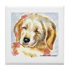Golden Retriever puppy - head Tile Coaster