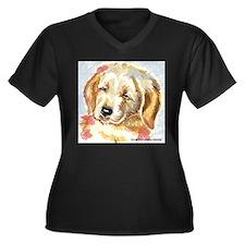Golden Retriever puppy - head Women's Plus Size V-