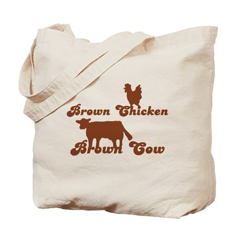 Brown Chicken Brown Cow Tote Bag by RetroCulture