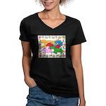 Herd 'o Dogs Women's V-Neck Dark T-Shirt