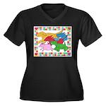 Herd 'o Dogs Women's Plus Size V-Neck Dark T-Shirt
