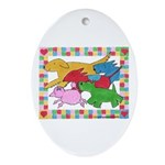 Herd 'o Dogs Oval Ornament
