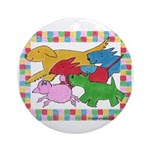 Herd 'o Dogs Ornament (Round)