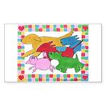 Herd 'o Dogs Rectangle Sticker