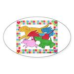 Herd 'o Dogs Oval Sticker