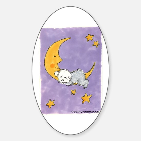 Baby puppy naps Oval Decal