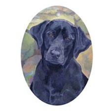 Sweet Black Labs Oval Ornament