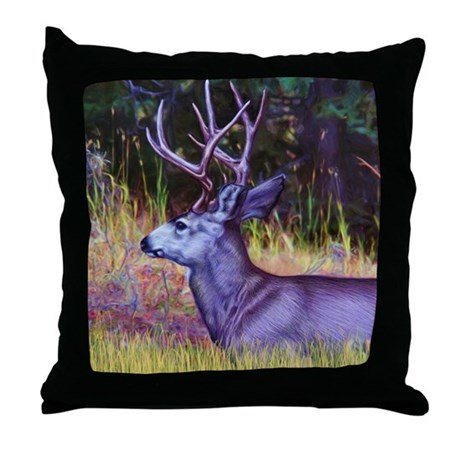 Forest Prince, Mule Deer Buck Throw Pillow