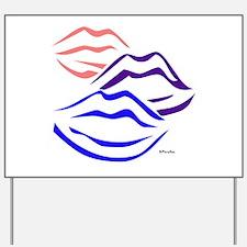 3 kisses (tri-colored) Yard Sign