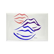 3 kisses (tri-colored) Rectangle Magnet