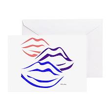 3 kisses (tri-colored) Greeting Card