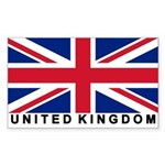 Flag of UK (labeled) Rectangle Sticker