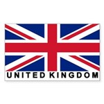 Flag of UK (labeled) Rectangle Sticker 10 pk)