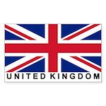Flag of UK (labeled) Rectangle Sticker 50 pk)