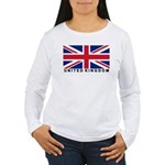Flag of UK (labeled) Women's Long Sleeve T-Shirt