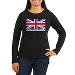 Flag of UK (labeled) Women's Long Sleeve Dark T-Sh