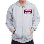 Flag of UK (labeled) Zip Hoodie