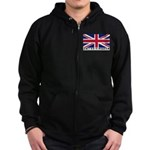 Flag of UK (labeled) Zip Hoodie (dark)