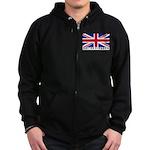 Flag of UK (labeled) Zip Hoodie (dark)