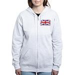 Flag of UK (labeled) Women's Zip Hoodie