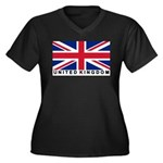 Flag of UK (labeled) Women's Plus Size V-Neck Dark