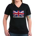 Flag of UK (labeled) Women's V-Neck Dark T-Shirt