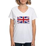 Flag of UK (labeled) Women's V-Neck T-Shirt