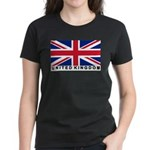 Flag of UK (labeled) Women's Dark T-Shirt