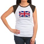 Flag of UK (labeled) Women's Cap Sleeve T-Shirt