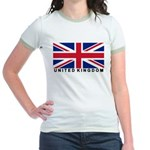 Flag of UK (labeled) Jr. Ringer T-Shirt