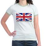 Flag of UK (labeled) Jr. Ringer T-Shirt
