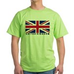 Flag of UK (labeled) Green T-Shirt