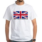 Flag of UK (labeled) White T-Shirt