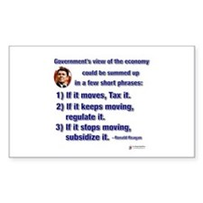 Reagan Govt View of Economy Rectangle Decal