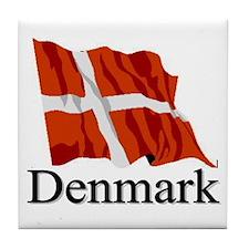 Waving Flag With Denmark Tile Coaster