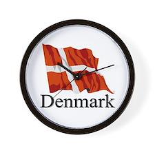 Waving Flag With Denmark Wall Clock