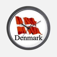 Waving Flag With Denmark Wall Clock