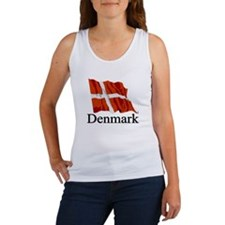 Waving Flag With Denmark Women's Tank Top