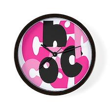 Jumbled Cheer Coach Pink Wall Clock