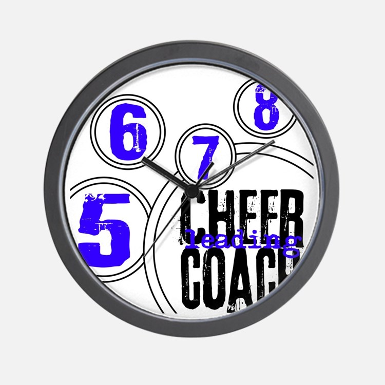 Cheer Coach in Circles Blue Wall Clock