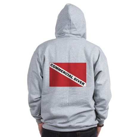 Commercial Diver... (design on back) Zip Hoodie