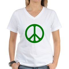 Green CND logo Women's V-Neck T-Shirt