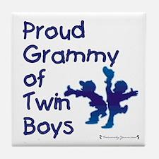 Proud Grammy - Twin Boys BLU Tile Coaster