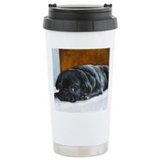 Resting Black Pug Puppy Travel Mug
