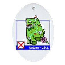 Alabama Map Oval Ornament