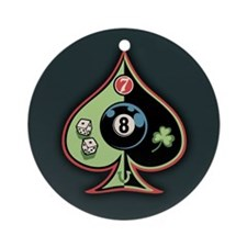 8 of Spades Ornament (Round)