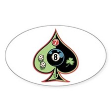 8 of Spades Oval Decal